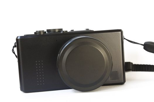 Compact digital camera againt white background