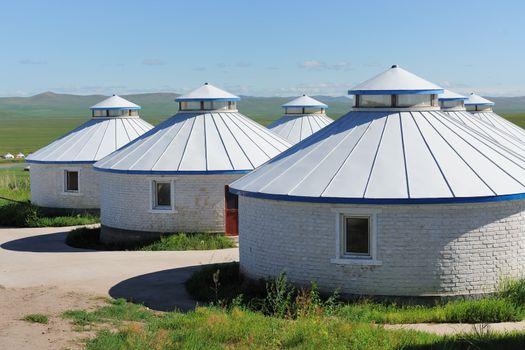 Mongolian yurts in the grassland of Hulun Buir League of Inner-Mongolia, China