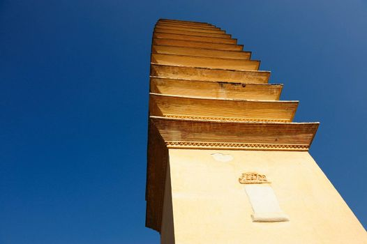 Ancient Chinese Buddhist pagoda under blue sky,photo taken in Dali, Yunnan province of China