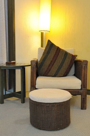 Chair,stool and table in modern hotel