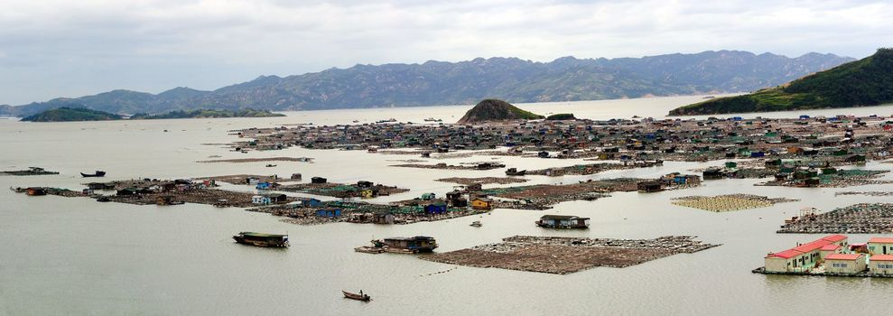 fishing village on the sea in Fujian province of China