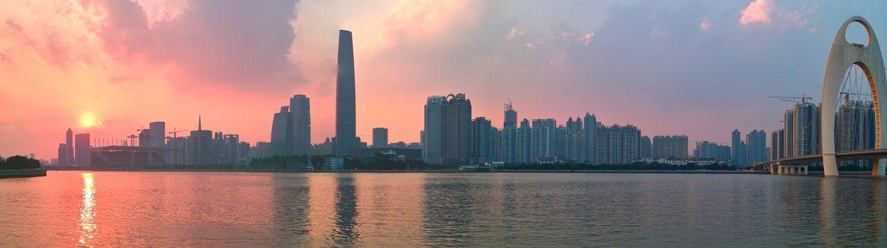 City sunset by the Zhujiang River in Guangzhou city Guangdong province of China