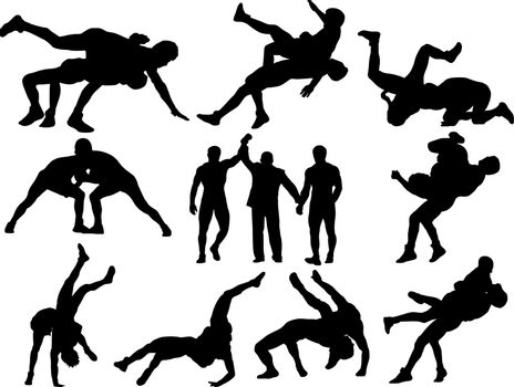 Wrestling silhouettes on white background. This could stand for greco-roman, freestyle, collegiate, scholastic, amateur wrestling or MMA.
