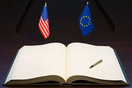 USA and Europe friendship concept