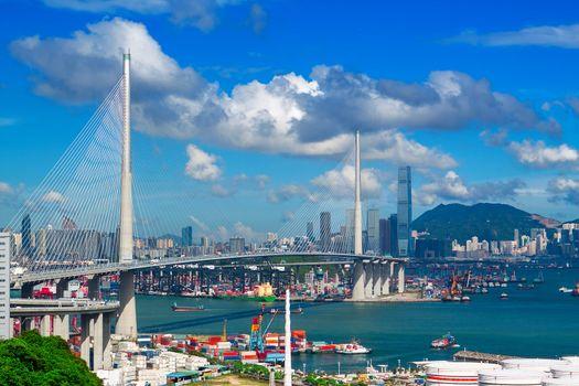 highway bridge in hongkong at day