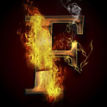 F, fire letter illustration