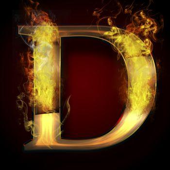 D, fire letter illustration
