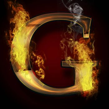 G, fire letter illustration