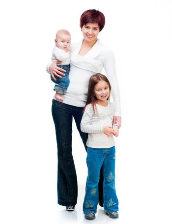 Mother with babies isolated on a white background