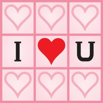 Valentines Day background with I Love You message