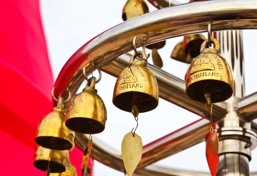Buddhist bells in Wat Saket (The Golden Mount), Bangkok, Thailan