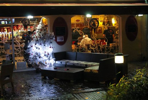 Night Cafe. Christmas in Bayeux. Normandy, France