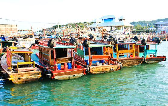 Fisher boat in koh Sichang harbor , Chonburi ,Thailand.