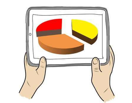 drawing  Tablet screen with graph on  hand
