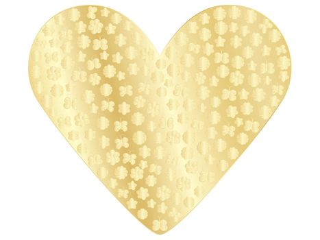 golden valentine with flowers and butterflies isolated on white