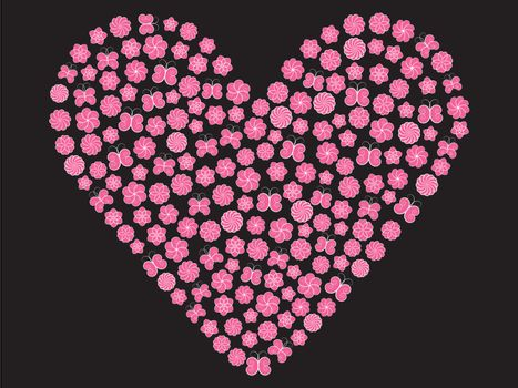 valentine made of flowers and butterflies over black