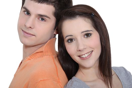 Head and shoulders of a young couple