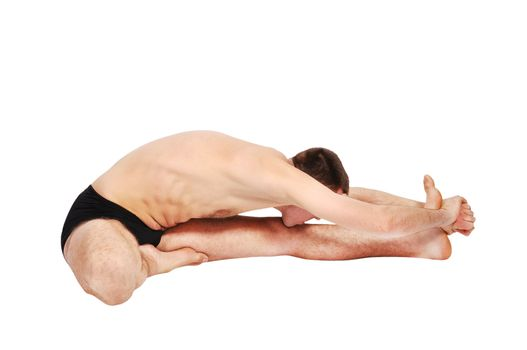 handsome bare-chested man doing yoga