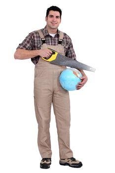 Builder sawing globe