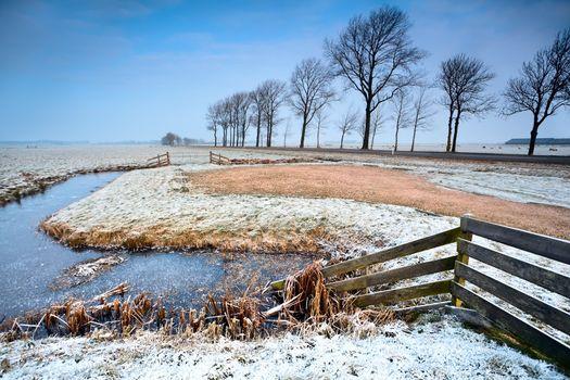 fence and canals in Dutch farmland