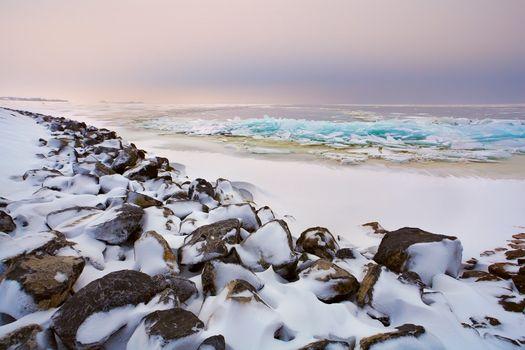 shelf ice on North sea in winter