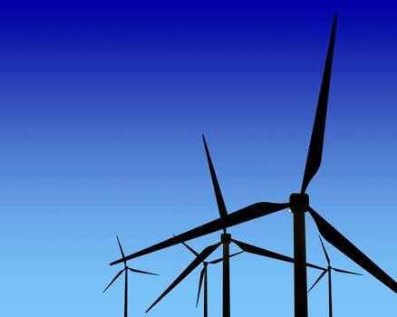 Wind Generator Turbines on Sunset