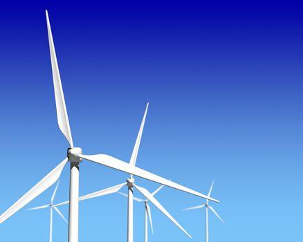 Wind Generator Turbines over Blue Sky
