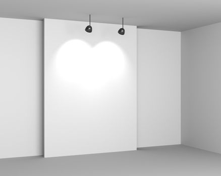 Gallery White Interior with Empty Desk and Lamps