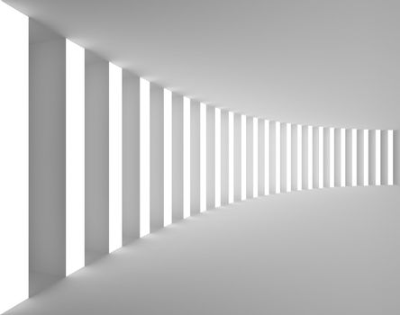 Empty White Interior with Big Columns and Light