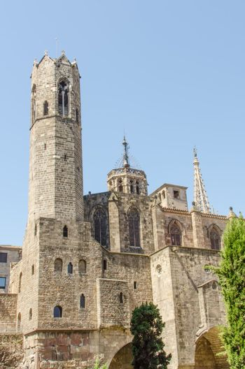 Tower at cathedral in gothic block of Madrid