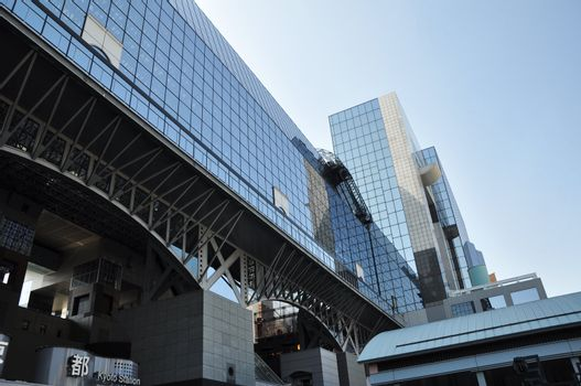 KYOTO, JAPAN - OCT 27: Kyoto Station is Japan's 2nd largest train station and its futurism architecture opened amid controversy in 1997 in the otherwise historical city October 27, 2012 in Kyoto, Japan.