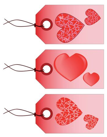 A collection of three St. Valentine tags isolated on white.