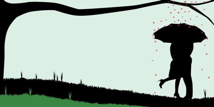 A courting couple, silhouette, kissing under an umbrella, during a downpour of red cupids hearts