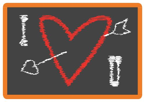 A school blackboard with a bright chalk Valentines Day I LOVE YOU message.