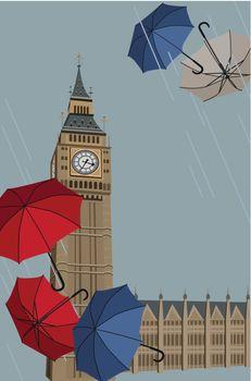 Big Ben and Umbrellas