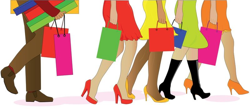 A collection of female legs walkig away from the sales with a man carrying the boxes behind.