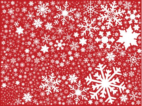 A fountain of christmas snowflakes on a red background.