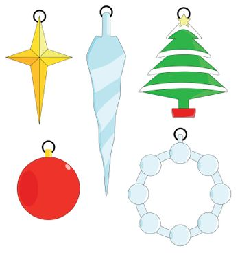 A collection of five Christmas Tree ornaments isolated on a white background.