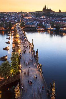 View of Vltava river with Charles bridge in Prague