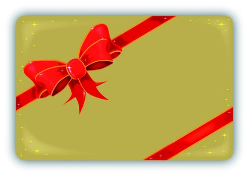 A golden Christmas tag and ribbon
