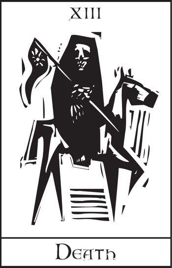 Woodcut expressionist style Tarot card for death number thirteen.