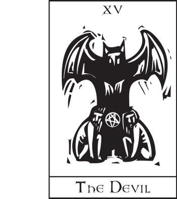 Woodcut expressionist style Tarot card for the devil