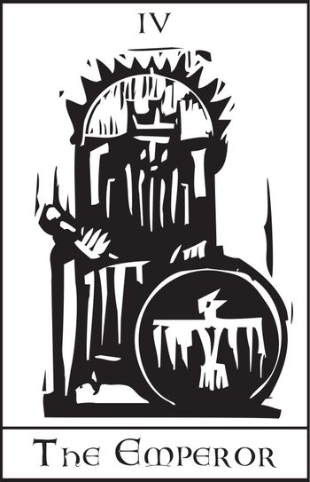 Woodcut expressionist style image of the Tarot Card for the Emperor