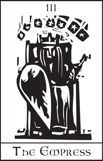 Woodcut expressionist style image of the Tarot Card for the Empress