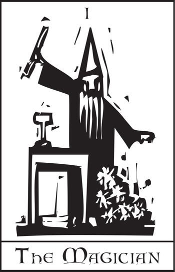 Woodcut expressionist style image of the Tarot Card for the Magician