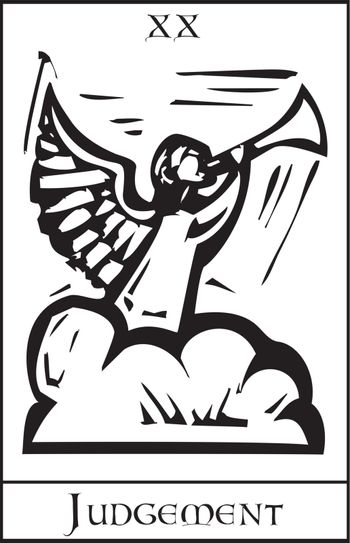 Woodcut expressionist style image for the Tarot card judgment.