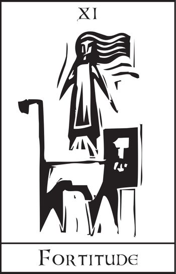 Woodcut expressionist style Tarot Card Major Arcana image of Fortitude