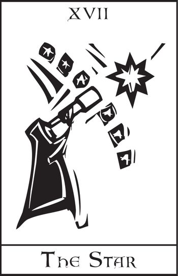 Woodcut expressionist style Tarot card for the Star.