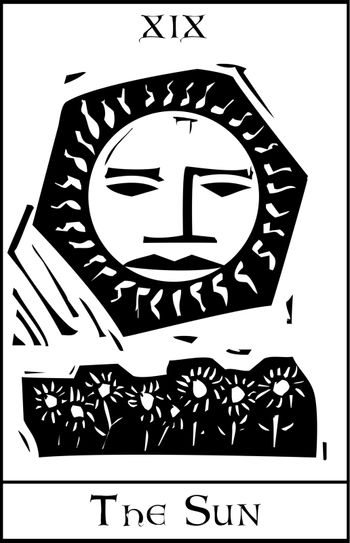 Woodcut expressionist style Tarot sun with face and sunflowers.