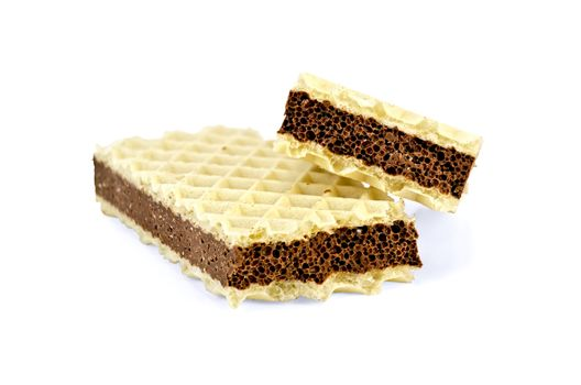 Wafer with a layer of porous chocolate